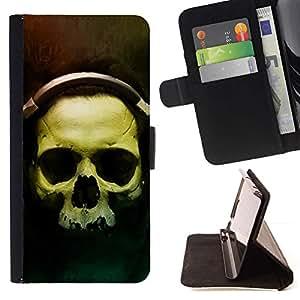 Momo Phone Case / Flip Funda de Cuero Case Cover - Cráneo Auriculares;;;;;;;; - Samsung Galaxy Core Prime