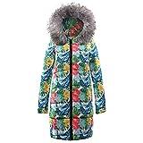 AOJIAN Women Jacket Long Sleeve Outwear Faux Fur Hooded Floral Print Puffer Maxi Overcoat Coat Gray