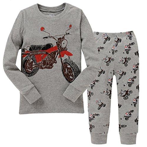 Mingming Little Boys Pajamas Sets Motorcycle 2 Piece Pajiamas 100% Cotton Toddler Kid Sleepwear Size 2T-7T (Motorcycle Toddler)