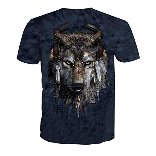 Col Homme Animal Imprimé 3 Manches Acvip Shirt Rond Courtes Style USqtE