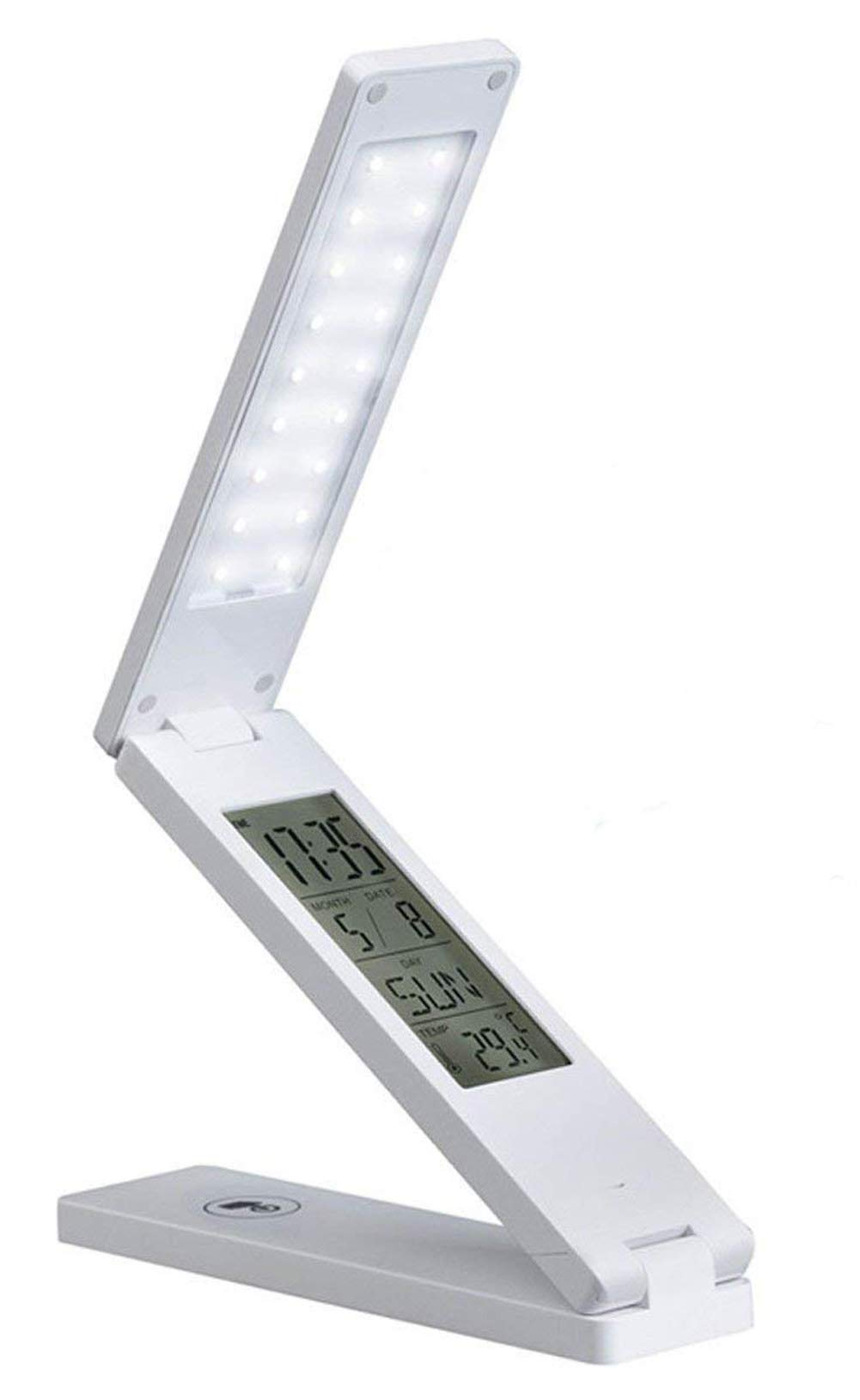Led Desk Lamp With USB Charging Port Built-in LCD Monitor/ Calendar 2018/Lamp Touch Control (Date Setting Alarm Birthday Reminder Timer Temperature Adjustable brightness -Portable)/Night Light