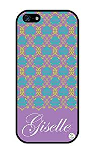 iZERCASE Personalized Blue Purple and Green Damask Pattern Pattern RUBBER iphone 5 / iPhone 5S case - Fits iphone 5, iPhone 5S T-Mobile, AT&T, Sprint, Verizon and International (Black)