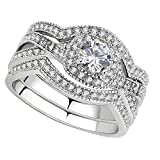 FlameReflection Stainless Steel Women's Infinity Wedding Ring Set Halo Round CZ Cubic Zirconia