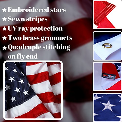 American Flag 3x5 ft - Heavy-Duty US Flag - Embroidered Stars - Nylon USA Flag Built for Outdoors - Sewn Stripes - UV Protection - Brass Grommets by NatFlag (Image #2)