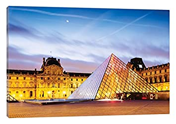 iCanvasART The Louvre Palace and Pyramid at Dawn Paris ILE Canvas Print 26 x 18