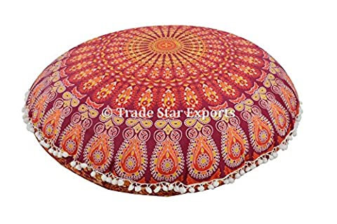 Indian Mandala Round Floor Cushion, Decorative Throw