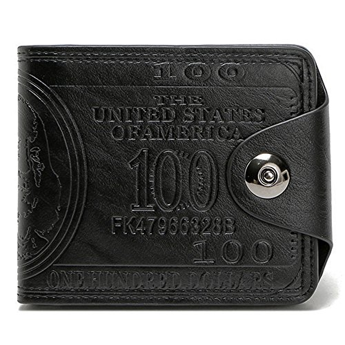 Sibalasi-New Men's US Dollar Wallet Bill Money Bifold Safe Purse With Magnetic Buckle ()