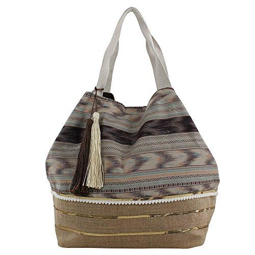 For Time Shopper Étnico con Tiras y Rafia, Bolsa de Tela y de Playa para Mujer, 20 x 34 x 40 cm Negro