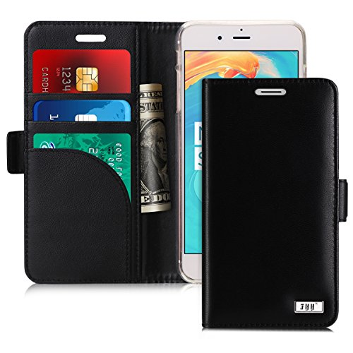 FYY [Genuine Leather] Wallet Case for Apple iPhone 8 Plus 2017/iPhone 7 Plus 2016, Handmade Flip Folio Wallet Case with Kickstand Card Slots Magnetic Closure for iPhone 8 Plus/iPhone 7 Plus Black