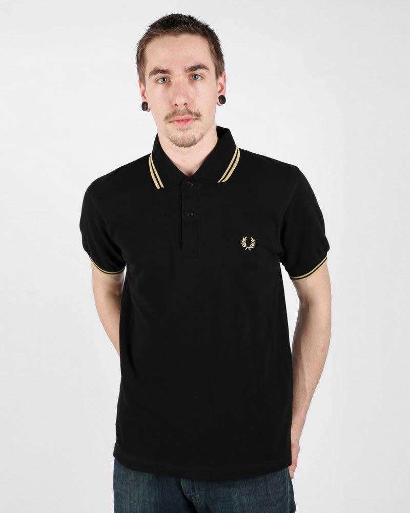 [フレッドペリー]ポロシャツ TWIN TIPPED FRED PERRY SHIRT M12N メンズ B0044UVV3W XXL/46|Black/champagne Black/champagne XXL/46