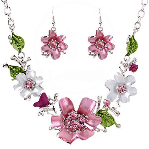 [Usstore Women Sweet Temperament Necklaces Wild flowers Diamond Pendants Set Alloy Gift] (Wild Flower Child Hippie Costume)
