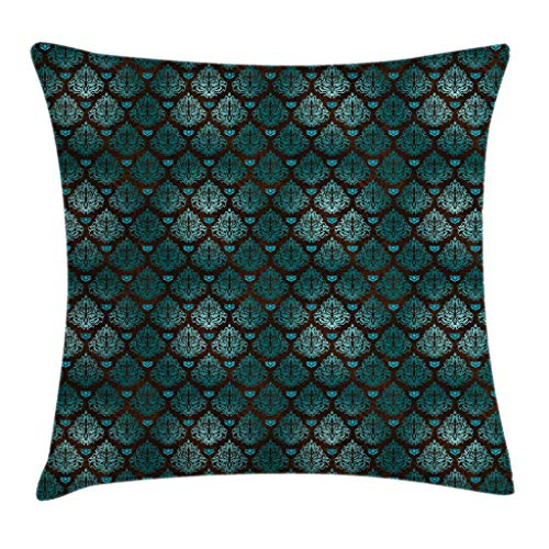 Ambesonne Brown and Blue Throw Pillow Cushion Cover, Abstract Vintage Floral Design Damask Pattern Ornate Grungy Swirls, Decorative Square Accent Pillow Case, 18 X 18 Inches, Teal Brown Pale Blue ()