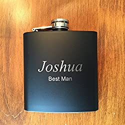 Engraved 6oz Stainless Steel Hip Flask Matte Black - Personalized