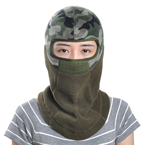 Leories Winter Windproof Fleece Warm Full Face Cover Anti-dust Balaclava Ski Mask Army Green