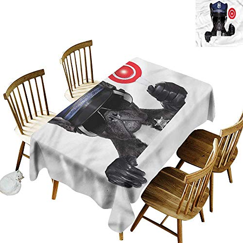 TimBeve Water Resistant Table Cloth Police Pug Dog Police Costume It's Good to be Home Gorgeous High End Quality 54