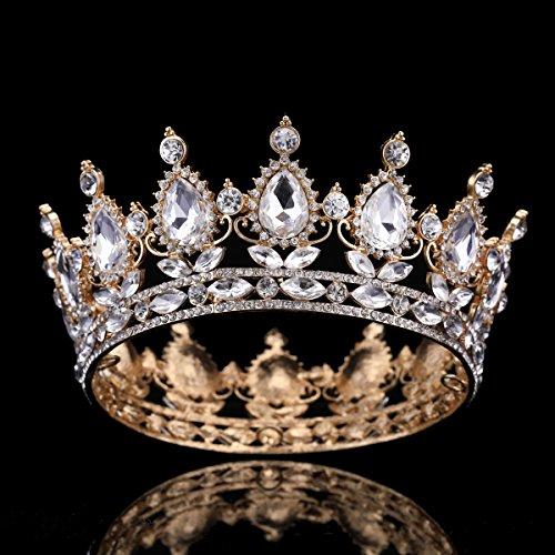 (FUMUD Child Crown Princess Baby Tiara Headband Baby Party Crown Headband Crystal Crown Rhinestone Crown (Gold-white))