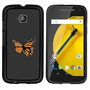 """Be-Star Único Patrón Plástico Duro Fundas Cover Cubre Hard Case Cover Para Motorola Moto E2 / E(2nd gen)( Impresionante Mariposa Naranja"""" )"""