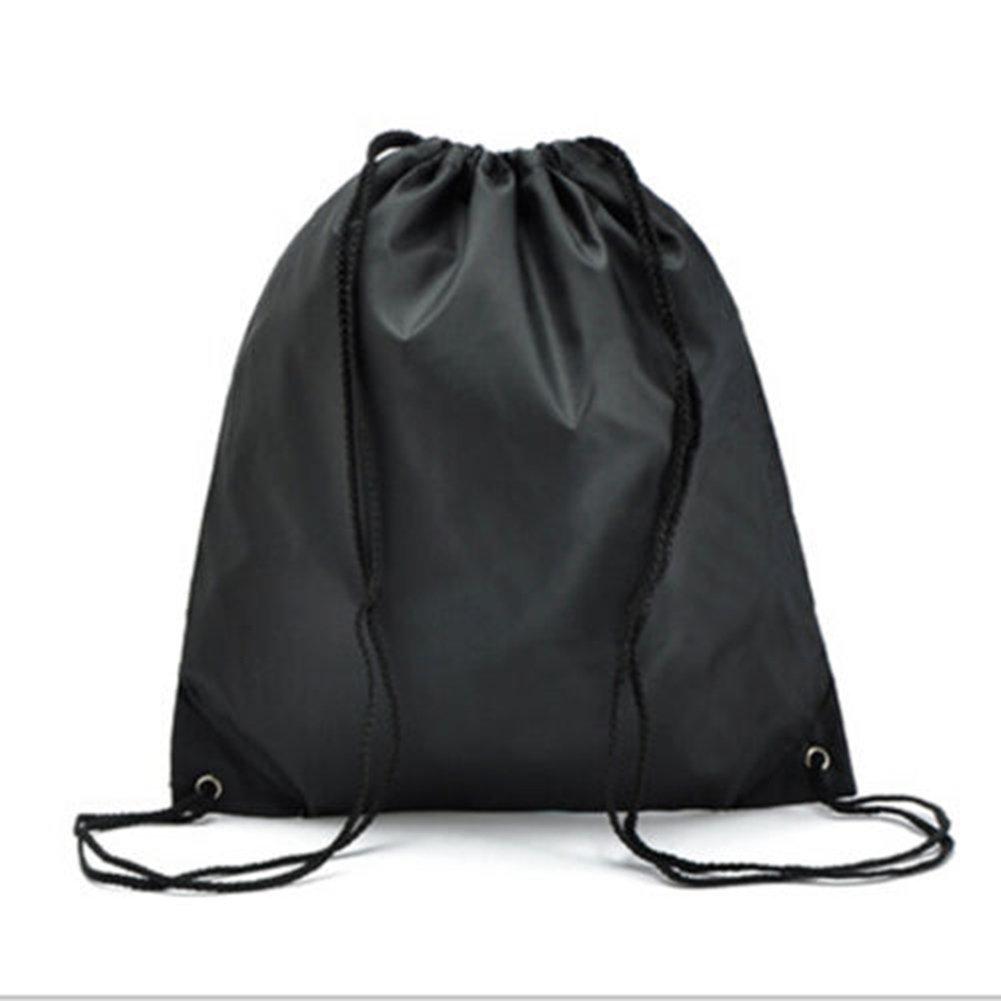 ナイロン巾着バッグ防水折りたたみバックパックストレージ旅行アウトドアスポーツ靴服Book軽量 B01MXGPALT ブラック ブラック