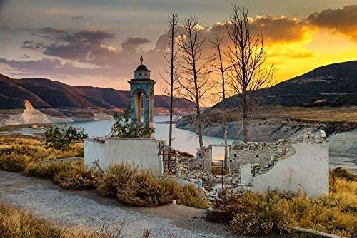 151213-88 Sunset At Alassa Church. 8x10, 11x14 Matted Photograph, Sunset Landscape. Best for Home and Office Wall Art Room - Mall East View