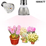Gianor E27 18W Led Grow Lights Full Spectrum Light Bulbs 28pcs SMD 5730 Chips Greenhouse Growing and Flowering Lamps for Indoor Garden and Hydroponic Plants Lighting Bulbs(AC 85~265V)