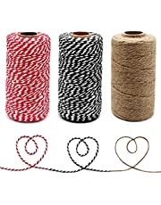Anvin 984 Feet Cotton Twine Natural Jute Twine Bakers Twine Black White Twine Red White Twine for Christmas Gift Wrapping Butchers Baking Arts and Crafts Gardening(Pack of 3, 10 Ply 2mm Thick)