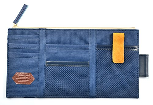 iSuperb Car Sun Visor Organizer Canvas Multi-function Space Card Phone Storage Pouch Bag 11.4x5.5inch(Dark Blue)