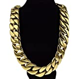 Heavy Cuban Vip Chain 30mm 28 Inches 14k Gold Plated Stainless Steel Necklace