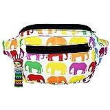 Elephant Fanny Pack, Boho Chic Handmade w/Hidden Pocket (Rainbow Elephants)