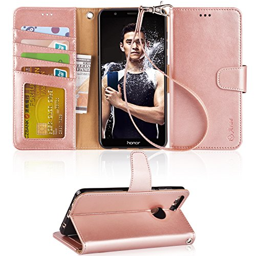 Huawei Honor 7X Case, Huawei Mate SE Case, Arae [Kickstand Feature] PU leather wallet case with wrist strap and [4-slots] ID&Credit Cards Pocket for Huawei Honor 7X & Mate SE - rosegold by Arae