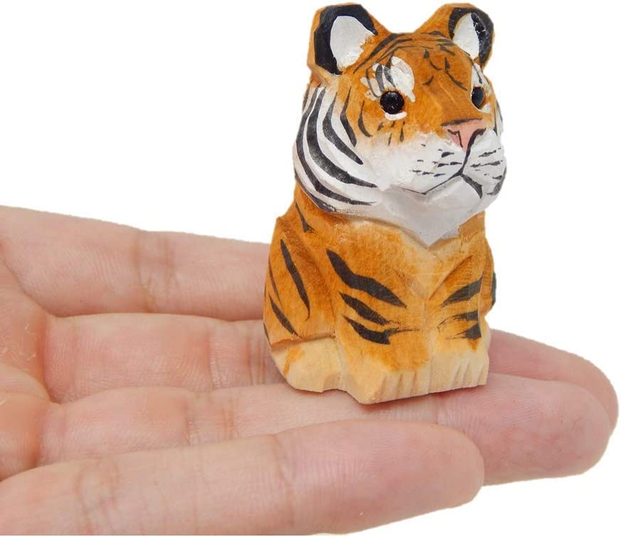 Tiger Figurine Decoration Wooden Statue Art Cat Bengal Striped Miniature Carved Small Animal Sculpture