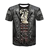Men's 3D Printed Funny Round Neck Short Sleeves Fashion T Shirt Tee Blouse Athletic Garments Casual Clothes Brown