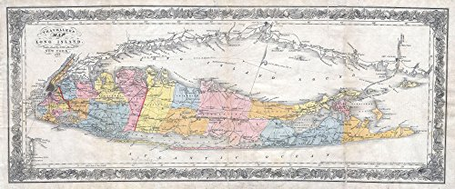 Long Island New York Antique - Art Oyster Map of Long Island, New York, 1857-35