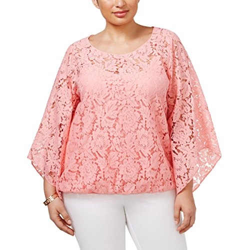 Alfani Womens Plus Lace Bubble Lace Angel Sleeves Blouse Pink 2X (Blouse Angel)