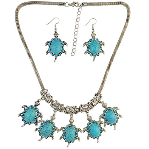 Bluegoog Black Sales Friday Cyber Sales Monday & Deals Week 2018-Women's Stainless Steel Turquoise Necklace Boho Style Turtle Shape Ethnic Tribal Earrings Set (Best Cyber Week Sales)