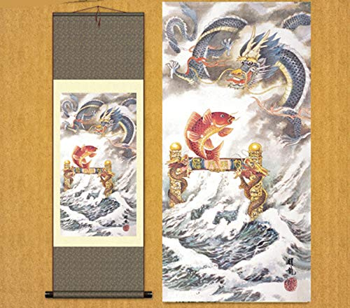 Sunmir (TM Silk Scroll Painting The carp has leaped Through The Dragon's gate