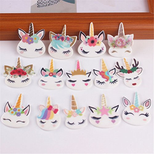 65 Pcs Mix Lots Unicorn Head Charm Unicorns Slime Beads Resin Animals Flatback Art Album Flat Back Phone Scrapbooking Hair Clip Hairpin Sewing DIY Craft Accessory Jewelry Decoration Dollhouse Ornament by Xiangfeng