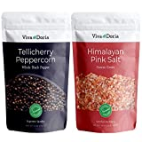 Viva Doria Tellicherry Peppercorn - Black Peppercorns (Steam Sterilized Whole Black Pepper) 12 oz and Himalayan Pink Salt (Coarse Grain) 2 lb for Grinder Refills