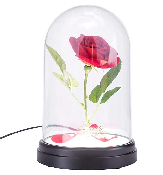Led Light Beauty And The Beast Red Rose In A Glass Dome On A Wooden Base For Valentines Gifts Silk Artificial Rose Flower Delicious In Taste Home & Garden