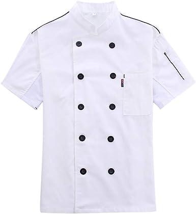 Bverionant Chaqueta de Chef con Manga Corta Verano Camisa de Cocinero Transpirable Uniforme para Hotel Restaurante Cocina Unisex Ropa de Chef: Amazon.es: Ropa y accesorios