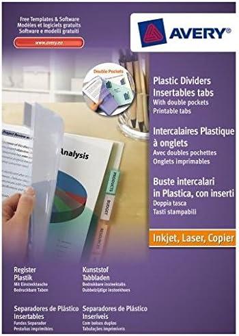 12 Tasti Trasparenti Avery 05624501 Buste Intercalari Trasparenti Colorate in Polipropilene Personalizzabili 260x300x9