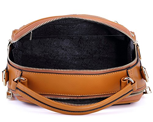 Xinmaoyuan Mujer bolsos de cuero Bolsos Bolso cuadrado pequeño reborde negro,Paquete Messenger Amarillo