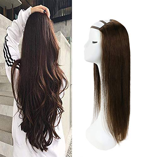VeSunny Half U Part Wig Remy Human Hair Dark Brown Clip in Half Wig U Part Silky Straight Human Hair Half Wigs Full Head One Piece Extensions 12inch 100g
