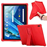 HminSen Compatible/Replacement for Lenovo Moto Tab Case, Ultra Slim Soft Silicon Rugged Back Stand Cover Lenovo Tab 4 10/Tab4 10 Plus case 2017 Release ZA2J0007US (Red)