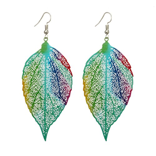 SONGLIN Chic Filigree Leaf Earrings with Green Delicate Cutout Oversized Drop Dangles