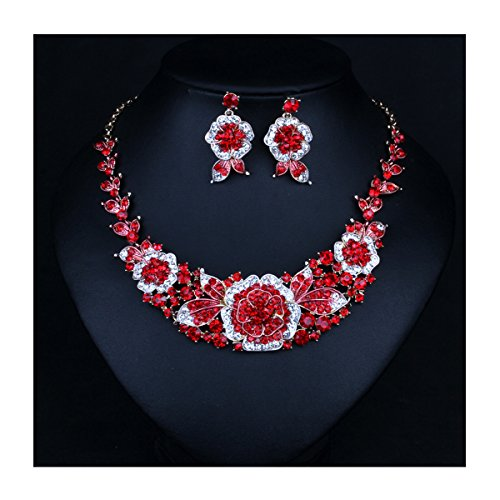 ENUUNO Costume jewelry Flowers Crystal Choker Pendant Statement Chain Charm Necklace and Earrings Sets Women (Red, (Flower Earrings Costume Jewelry)