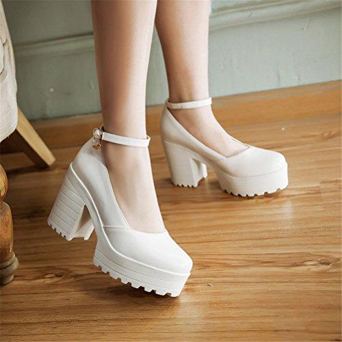 YE Damen Chunky High Heels Blockabsatz Plateau Pumps mit Riemchen 9cm Absatz Schnalle Eelgante Bequeme Schuhe Weiß
