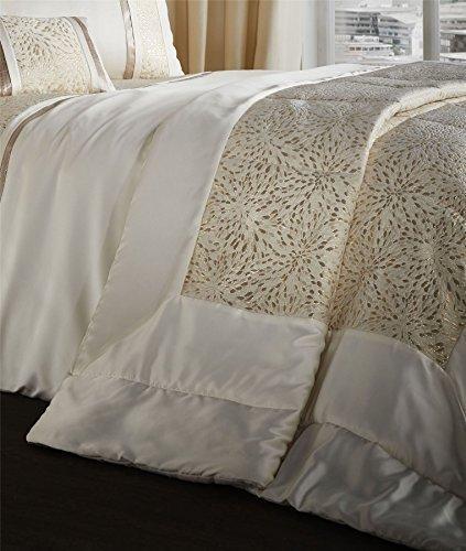 Jacquard Tissé grand carré crème doré Couvre-lit matelassé Jeté de lit 240x260cm Bedspread