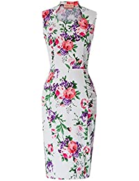 Vintage Floral Cocktail Dress Cap Sleeve Retro Pencil Dress CL7597