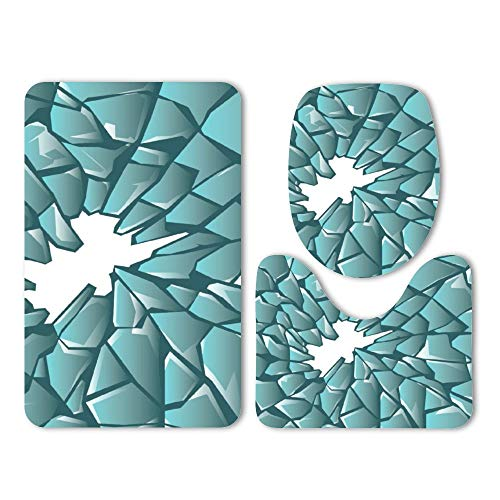 (DKISEE 3 Piece Bathroom Mat Set Shatter Pattern Washable Bath Rug Set Non Slip Carpet Bath Mat Set )