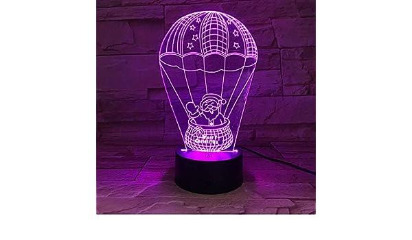 Papá Noel en el globo de aire caliente Lámpara de 7 colores ...